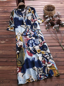 Vintage Print Short Sleeve Plus Size Maxi Dress with Pockets