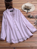Vintage Solid Color Irregular Hem Button Plus Size Shirt