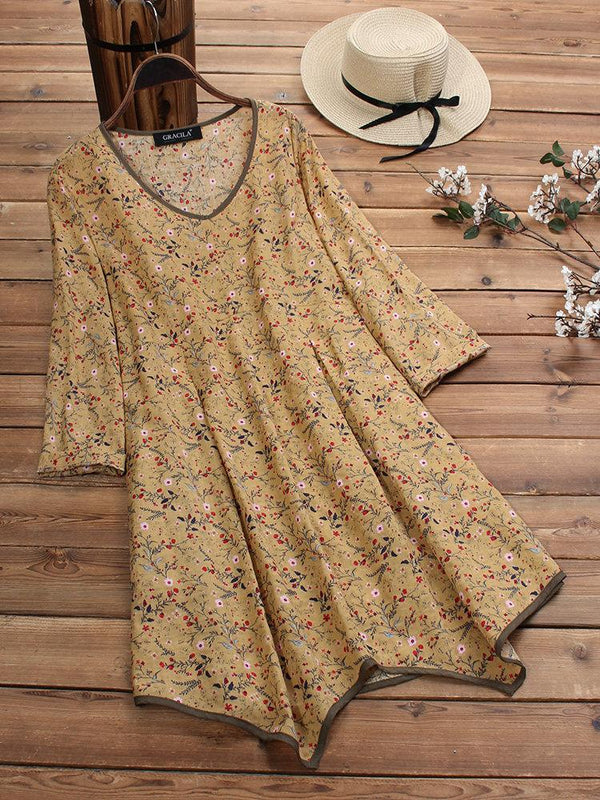Floral Print Irregular Long Sleeve Vintage Blouse For Women