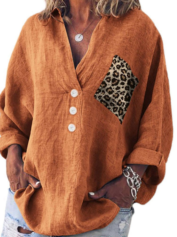 Casual Leopard Print Pocket V-Neck Long Sleeve Blouse