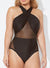 HOLLYWOOD CRISSCROSS MESH ONE PIECE SWIMSUIT