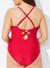 FUEGO CUT OUT PLUNGE ONE PIECE SWIMSUIT