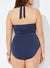MIDNIGHT FAUX WRAP HALTER ONE PIECE SWIMSUIT
