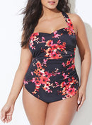 CHLORINE RESISTANT POPPIES H-BACK SARONG FRONT ONE PIECE SWIMSUIT