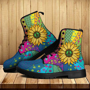 Hippie Sunflower Leather Boots