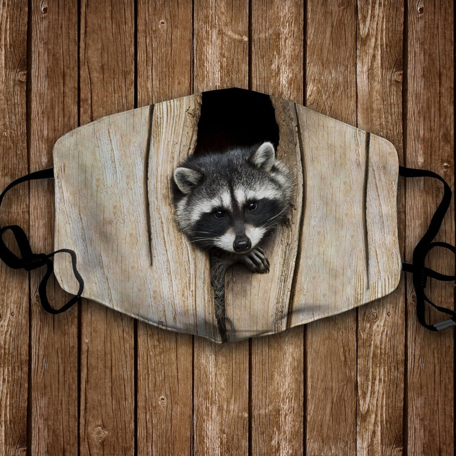 Raccoon in their log face mask