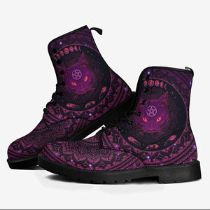 Witch Cat Leather Boots HP436