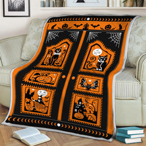 Halloween Black Cat Pumpkin Blanket