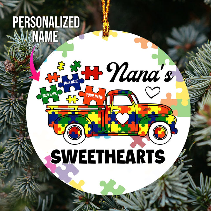 Personalized Autism Family Sweathearts Ornament