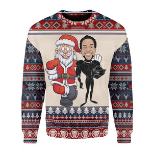 Santa And Chadwick Boseman Ugly Sweater