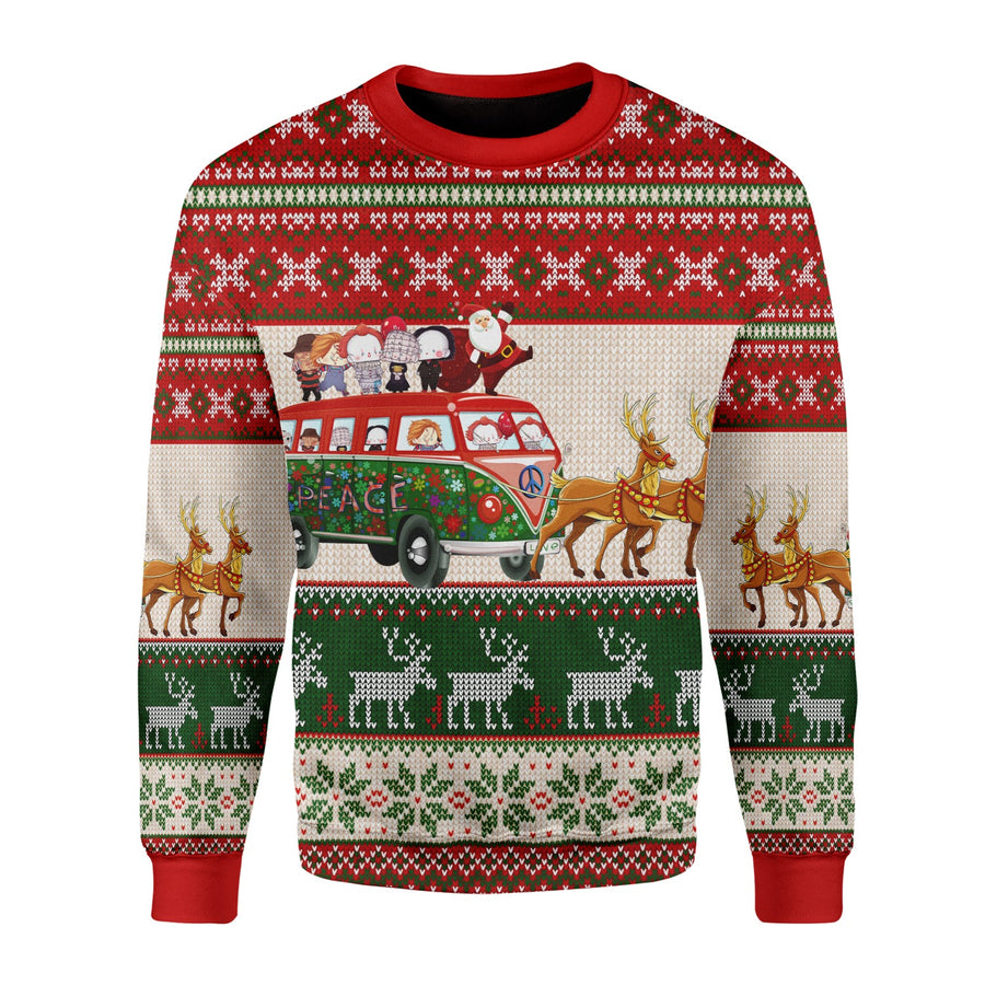 G121 Santa With Horror Characters Christmas Sweater