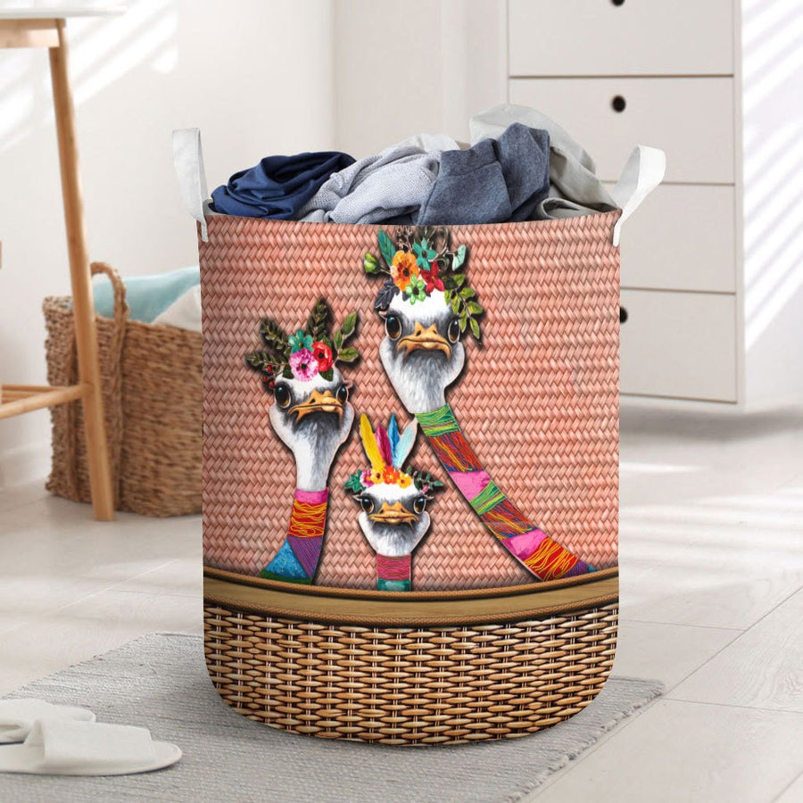 Funny ostriches laundry basket