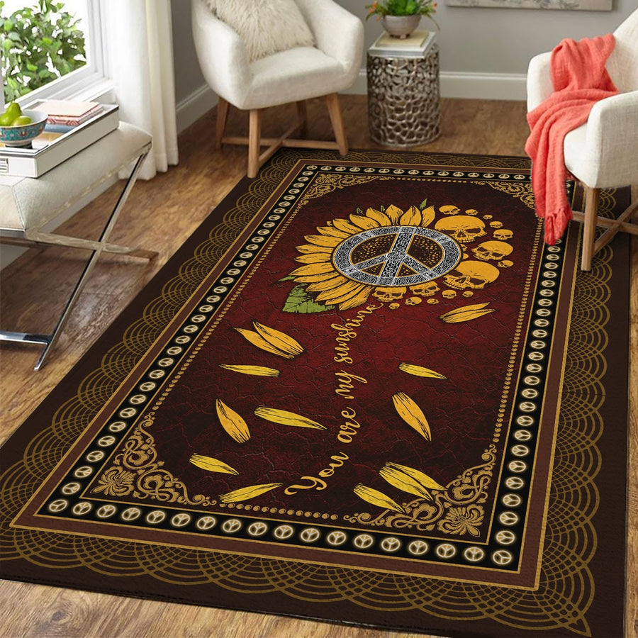 You Are My Sunshine Hippie Skull Rug