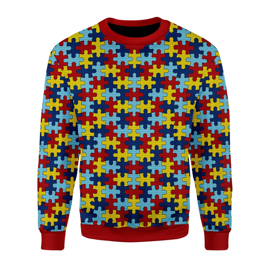 Autism Puzzel Ugly Christmas Sweater