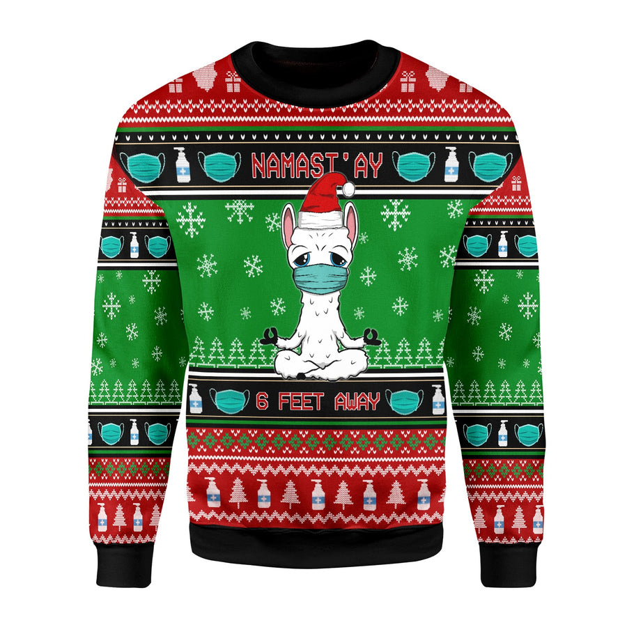 Namaste Stay 6 Feet Away Ugly Sweater