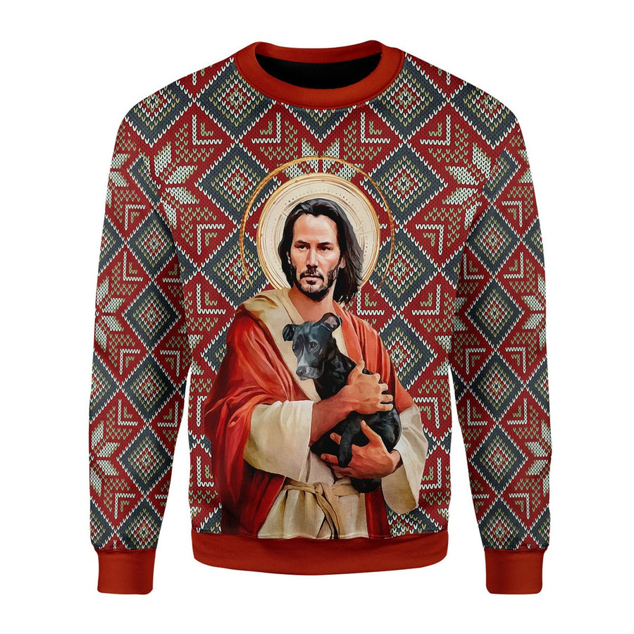 Jesus Keanu Reeves With Dog Christmas Ugly Sweater