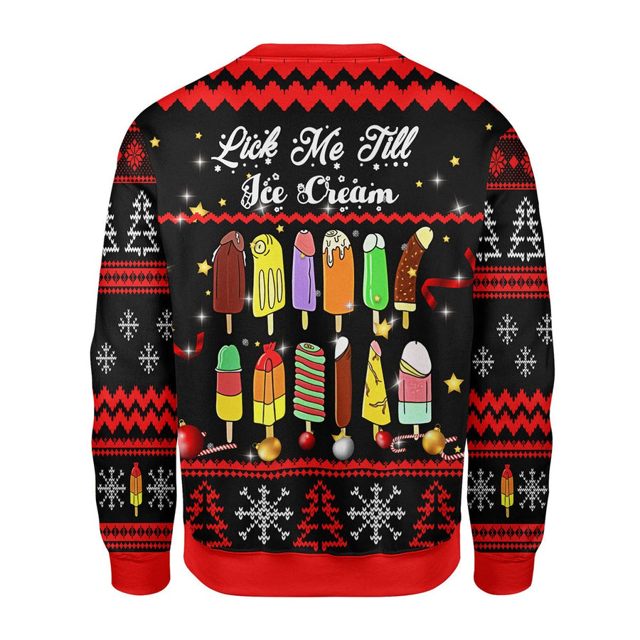 Lick Me Till Ice Cream Ugly Christmas Sweater
