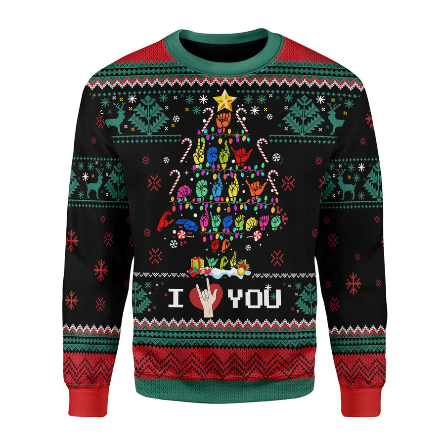 Christmas Tree Sign Language Xmas Ugly Christmas Sweater