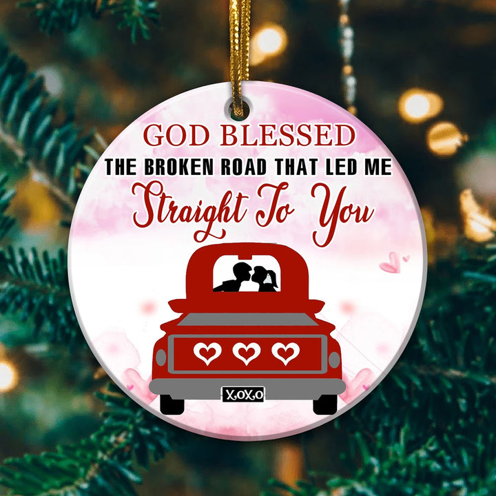 Personalized Love Couple Red Truck Ornament