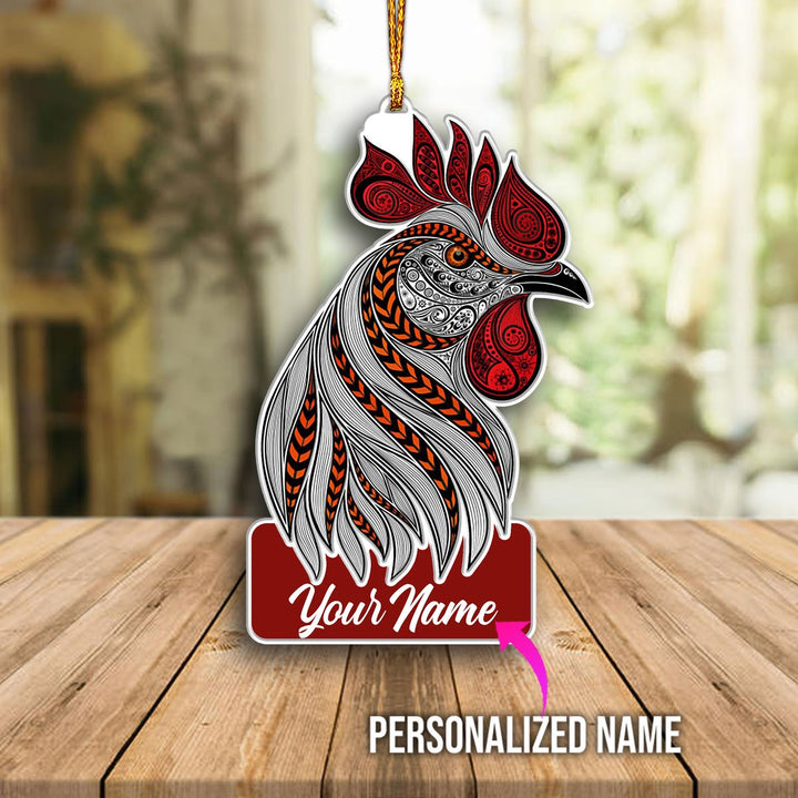 Personalized Abstract Rooster With Red Crest Ornament