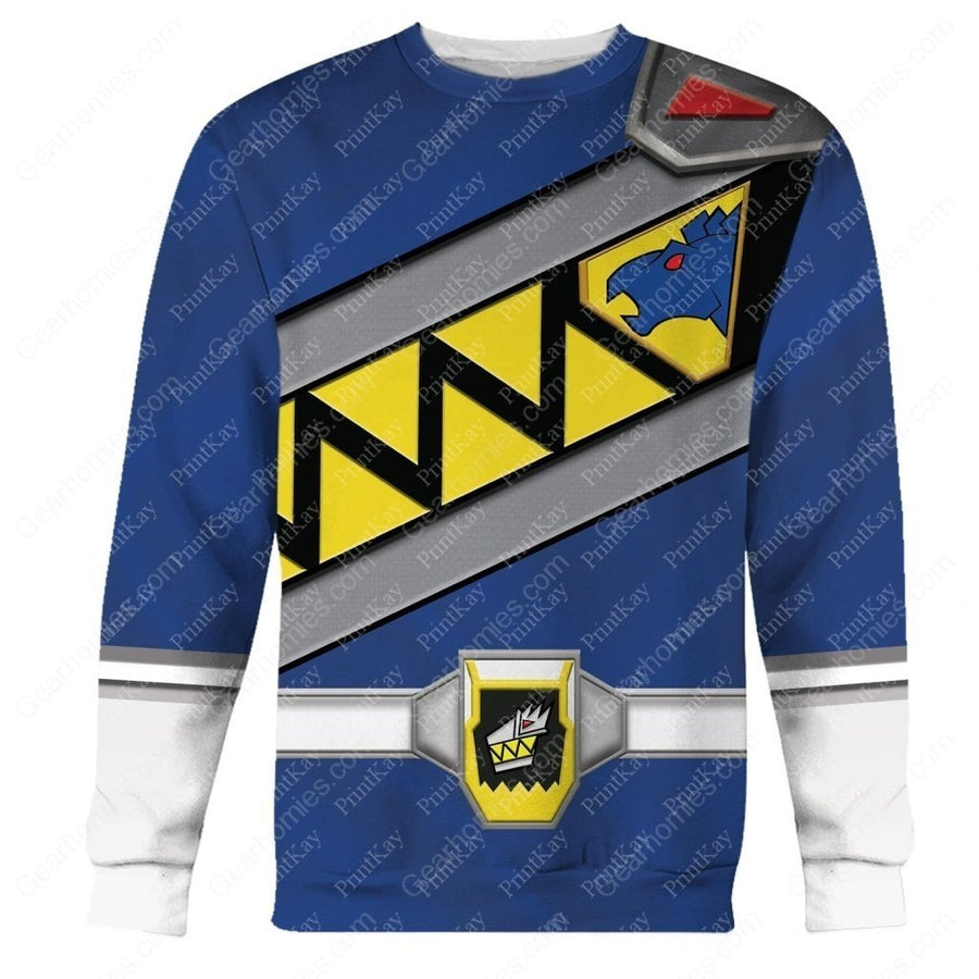 Blue Power Rangers Dino Long Sleeves / S Pr002