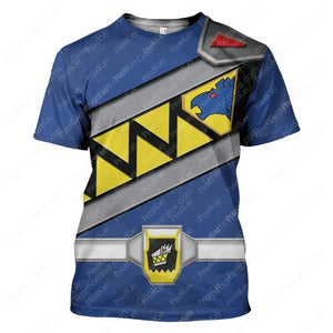Blue Power Rangers Dino T-Shirt / S Pr002