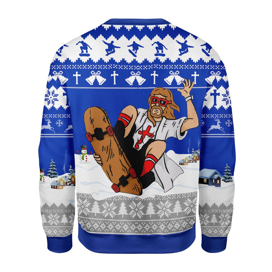 Jesus Skateboarding Christmas Sweater