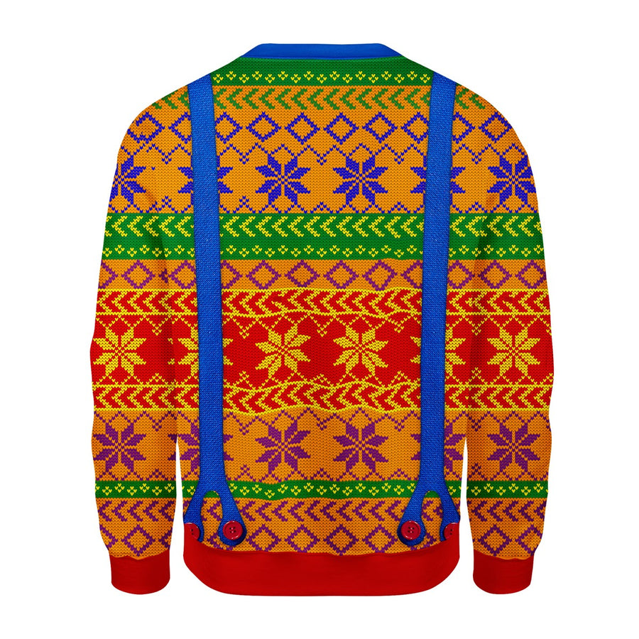 LGBT Ugly Christmas Sweater With Tie And Suspenders