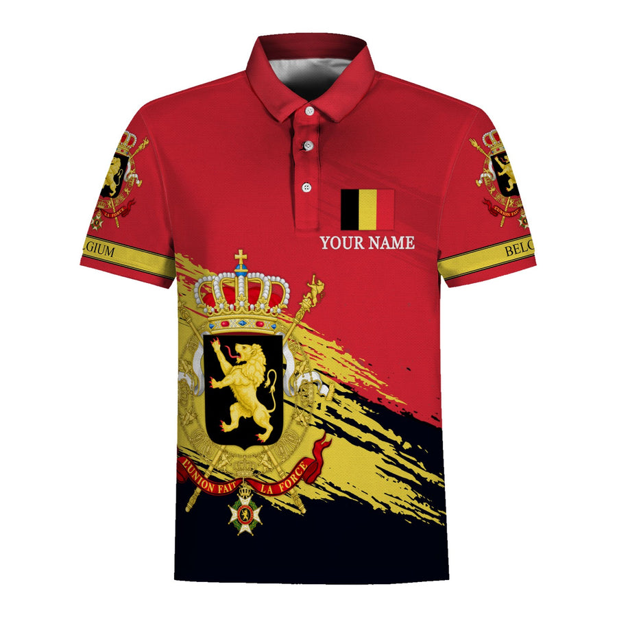 Belgium Coat of Arms Polo Shirt Custom Name