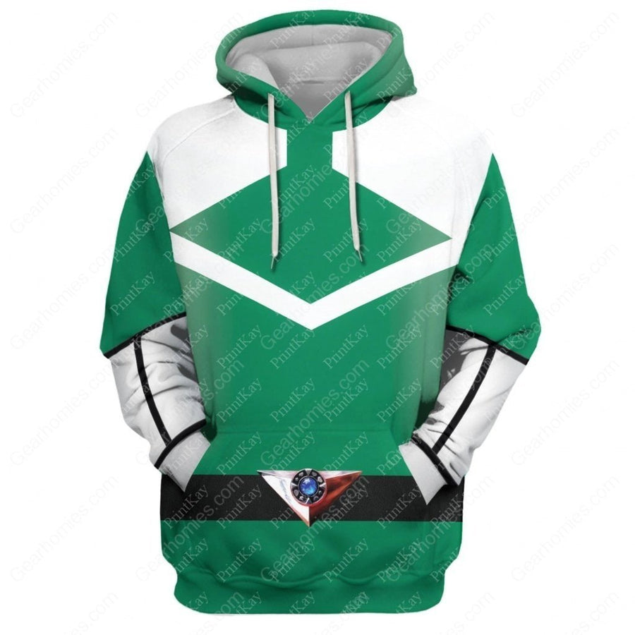 Green Power Rangers Time Force Hoodie / S Qm178