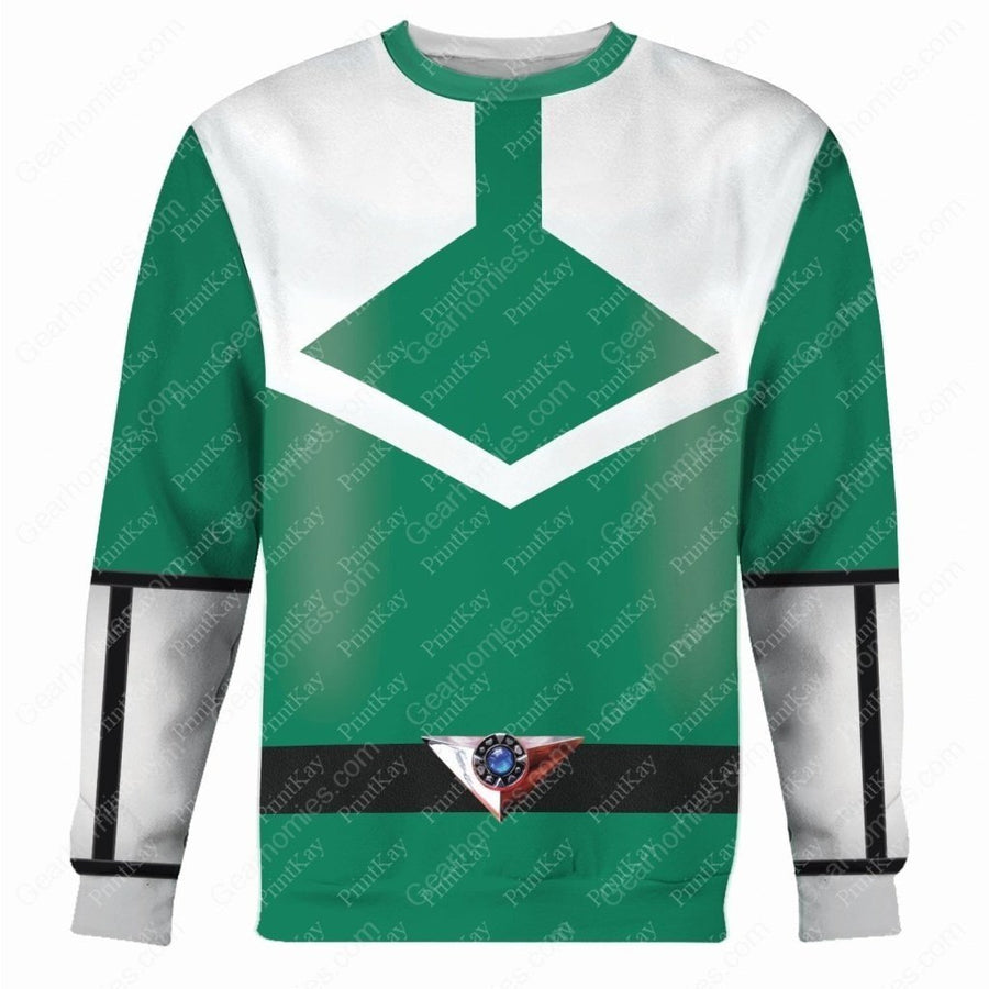 Green Power Rangers Time Force Long Sleeves / S Qm178