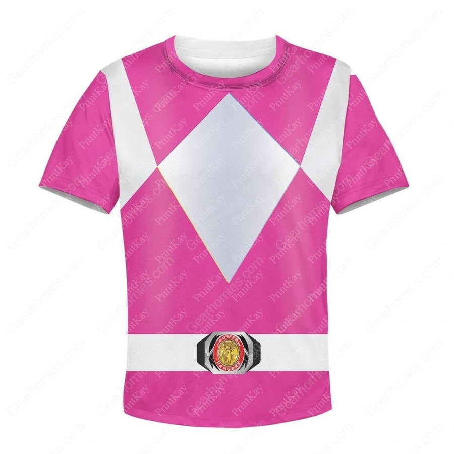 Kid Pink Power Rangers Tshirt / S Kidqm43