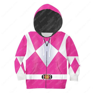 Kid Pink Power Rangers Zip Hoodie / S Kidqm43
