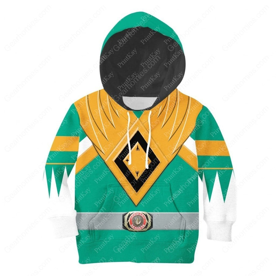 Mighty Morphin Green Ranger Legacy Kid Hoodie / S Qm67