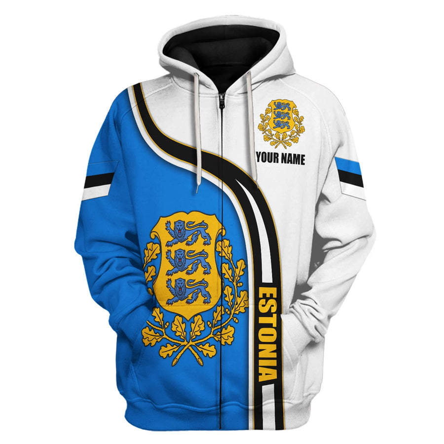 Estonia Coat of Arms Custom Name Hoodie