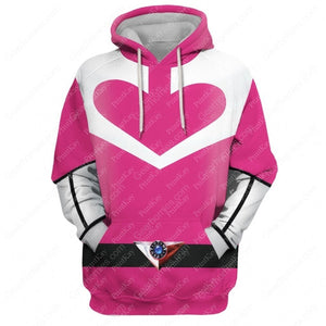 Pink Power Rangers Time Force Hoodie / S Qm177