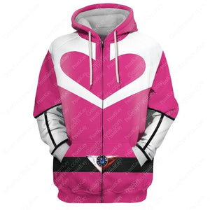 Pink Power Rangers Time Force Zip Hoodie / S Qm177