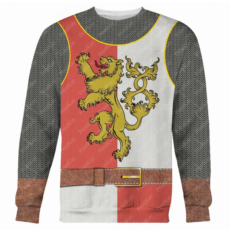 Red White Medieval Knight Cosplay All Over Print Long Sleeves / S Cos001Redwhite
