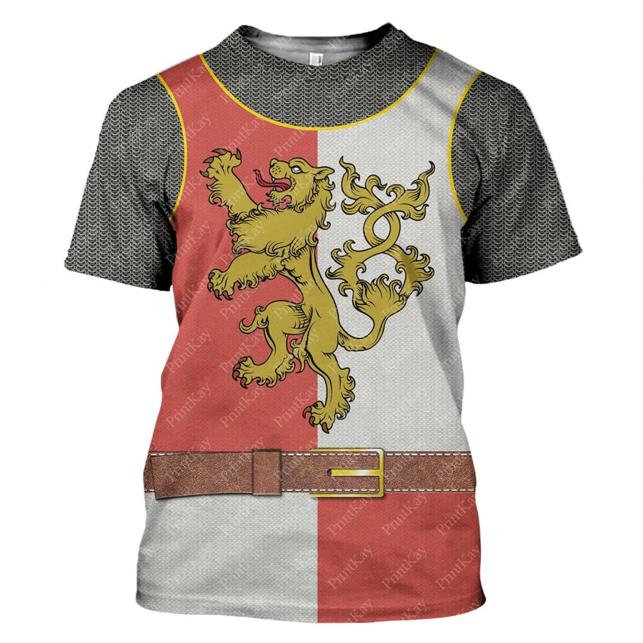 Red White Medieval Knight Cosplay All Over Print T-Shirt / S Cos001Redwhite
