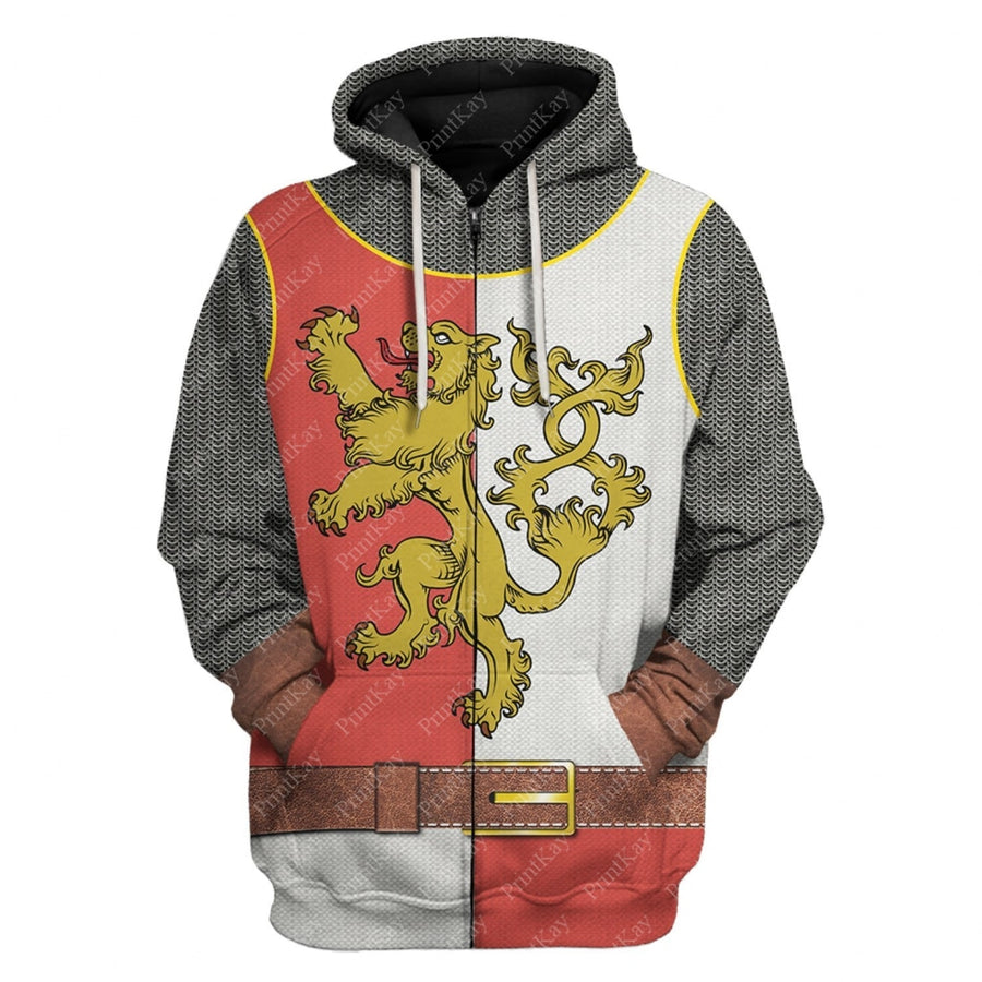Red White Medieval Knight Cosplay All Over Print Zip Hoodie / S Cos001Redwhite