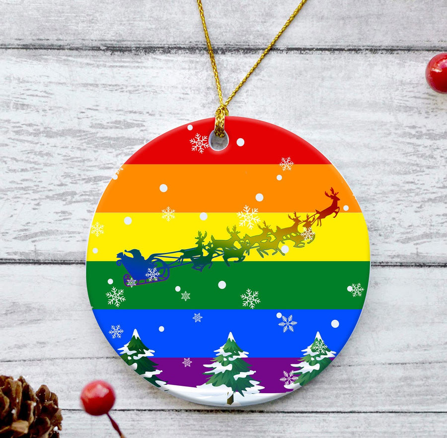Gay Flag Round Ornament
