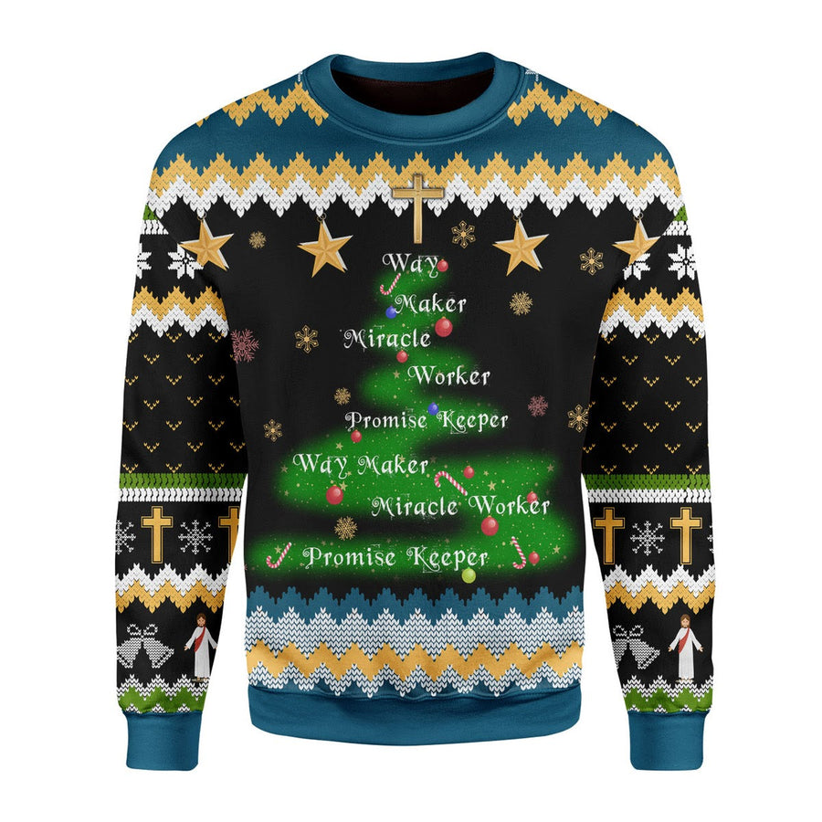 Way Maker Miracle Worker Promise Keeper Christmas Sweater