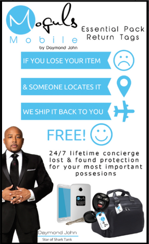 Moguls Mobile by Daymond John Lost and Found Return Tags for Keys & Luggage and Mobile devices