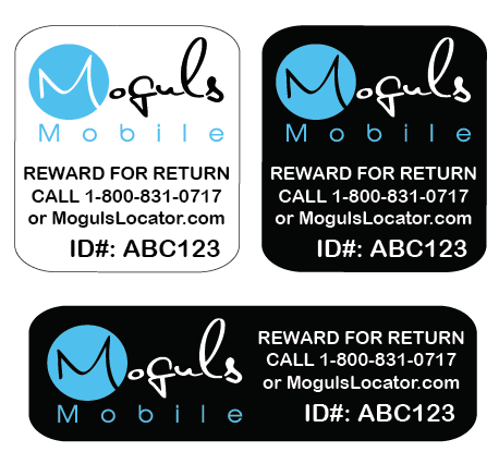 Moguls Mobile by Daymond John Locator Lost and Found Return Tags Mobile devices