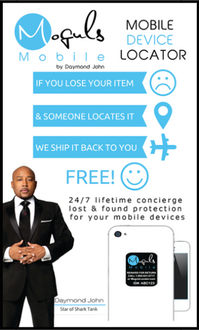 Moguls Mobile by Daymond John Locator Lost and Found Return Tags for Mobile devices