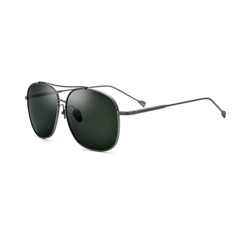 Men Polarized Sunglasses Metal Frame Black/Gold/Green Lens Oversize Driving Glasses For Men With Box