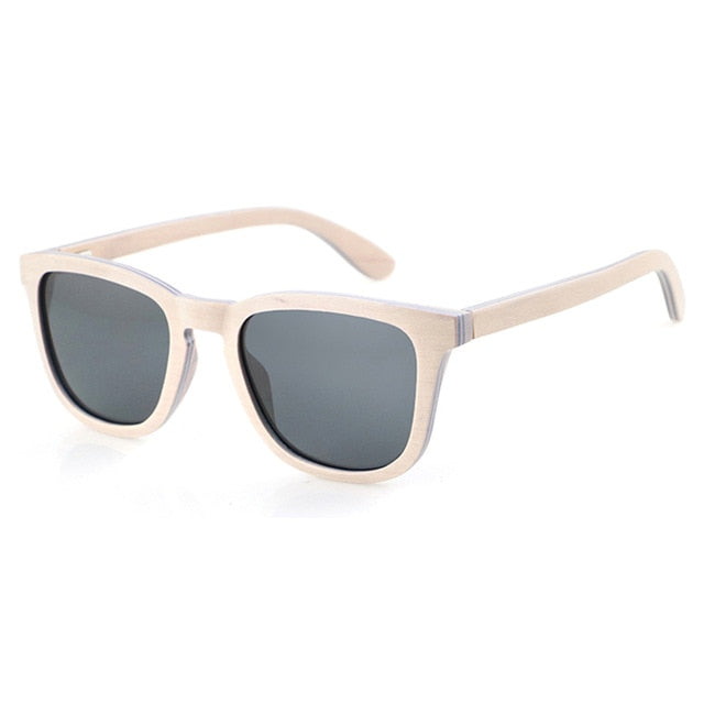 Dropshipping Polarized Abalone Shell Sunglasses Women Square Frame Rim Wood Veneer Logo Custom Sun Glasses with Wooden Arms