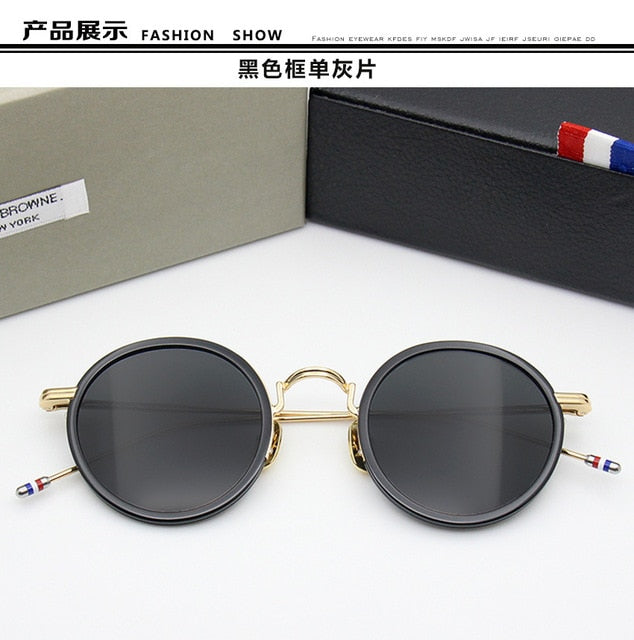 Round Sunglasses Women and Men New York Brand  Thom Retro Sun Glass  TBS906 Vintage Sunglass 2018 Fashion Black Frame