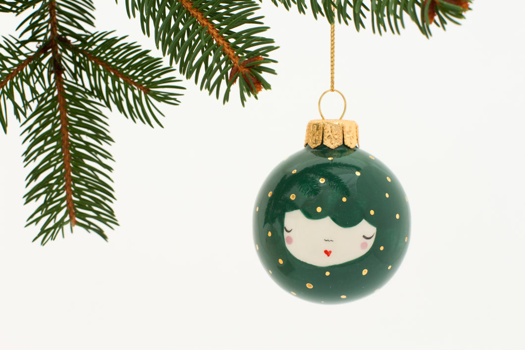 Christmas Bauble in Dark Green with little Golden Dots - O I A  ceramics