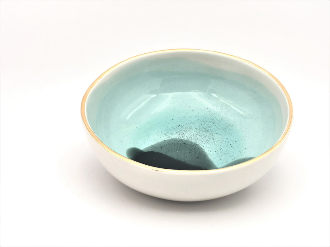 Bowl in Blues & Greens with Golden Lining - O I A  ceramics